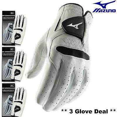 Mizuno Comp Golf Gloves New For 2016 - 3 Gloves White Mens All Sizes All Weather