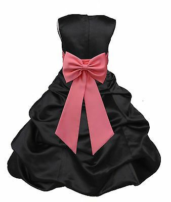 Black Pick-Up Flower Girl Formal Dress Pageant Wedding Bridesmaid Junior Toddler