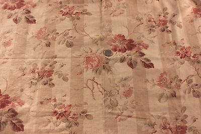 """Antique 19thC French H.F. Floral & Stripe Ribbed Cotton Fabric~29""""LX31""""W"""