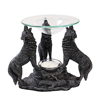 Howling Wolves Tea Light Oil Burner Statue Protector Guardian Campfire Wolf