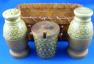 Rare Retro JAPANESE Porcelain & Wood CONDIMENTS SET in BASKET VG - In Australia