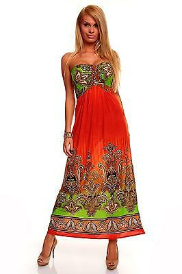 Womens Summer Bandeau Holiday Party Beach Evening Long Maxi Dress size 8 10 12
