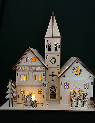 Wooden Christmas Nativity Scene With Lights