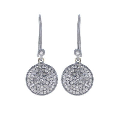 Disc Pave Diamond Hook Earrings 925 Silver Gold Women Wear Vintage Style Jewelry