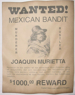 Joaquin Murietta Wanted Poster, Western, Outlaw, Old West