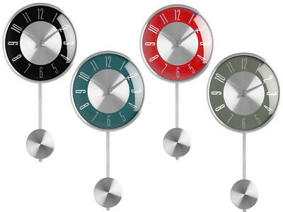 New Pendulum Wall Mounted Clock Chrome Effect Silver Numerical Digits Display