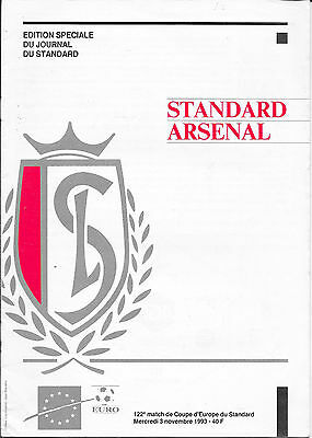 Standard Leige v Arsenal, 1993/94 - European Cup Winners Cup Football Programme