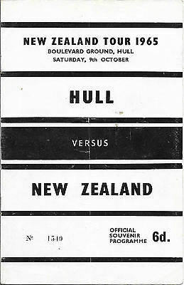 1965 - Hull v New Zealand, Rugby League Touring Programme