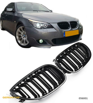 Grille  For Bmw E60 E61 Sport Kidney Double Slat M5 Look Glossy Black