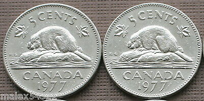 Canada Set Of Both 1977 5 Cents Circulated