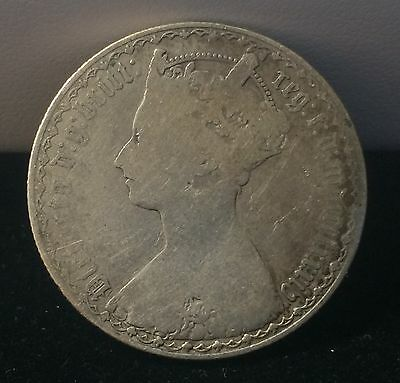 Great Britain GOTHIC Queen Victoria UK One Florin / 2 Shillings SILVER Coin