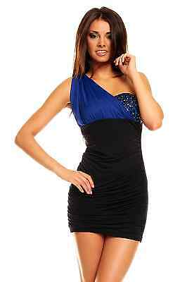 Womens One Shoulder Sexy Contrast Embellished Bodycon Party Mini Dress size 12