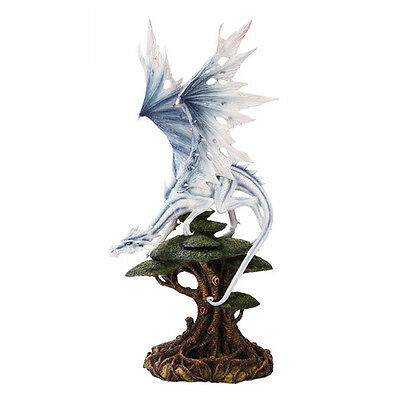Mystical Ancient White Tree Top Dragon Forest Dragon Statue Home Decor Figurine