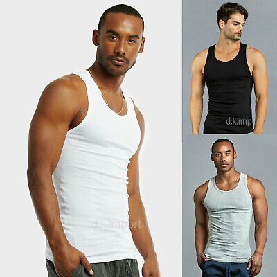 c276d1d7b429f3 6 Pack Mens Black WHT Tank Top 100% Cotton A-Shirt Wife Beater Ribbed
