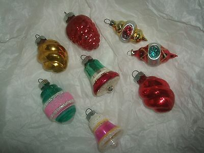 VINTAGE LOT OF 8 SHINY BRITE CHRISTMAS ORNAMENTS INDENT BELL