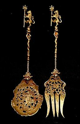 Baroque Montagnani Italy Ornate Cherub Silver Plated Brass Serving Fork & Spoon