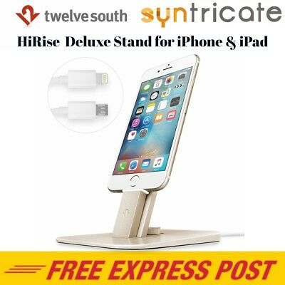 Twelve South HiRise Deluxe Charging Dock/Stand For iPhone 6/6s/5s/SE/6s +-Gold