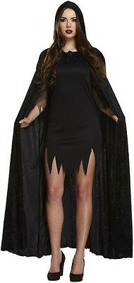 Ladies Halloween Party One Size Black Hooded Velvet Cape Fancy Dress Costume