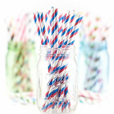 25 Papiertrinkhalme, Paper Straws Blue&Candy Apple Red Stripes