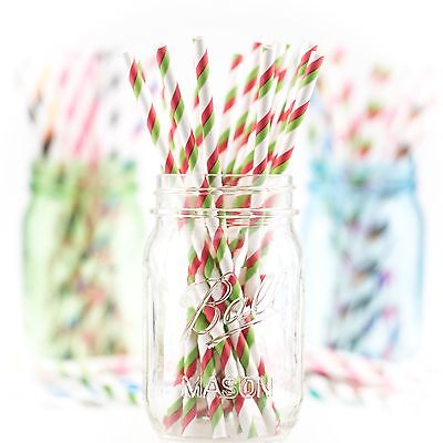 25 Papiertrinkhalme, Paper Straws Green&Candy Apple Red Striped