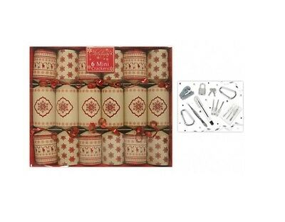 Pack Of 6 Luxury Mini Nordic Family Christmas Crackers Red & Brown Snowflake