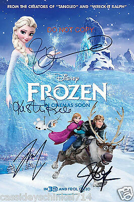 "Frozen Disney Movie 12x18"" reprint Signed Cast Photo #2 RP Elsa & Anna & MORE"