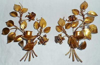 Antique Pair of Italian Gilt Tole Floral Candle Holders Wall Sconces c. 1920