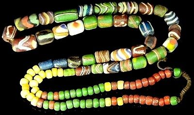 Fine Collection Old Antique Venetian Colorful Glass African Trade Bead Necklace