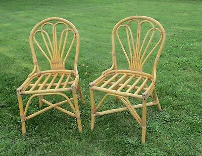 Vintage  Pair Couple Bamboo Lounge  Chairs Rattan Wicker