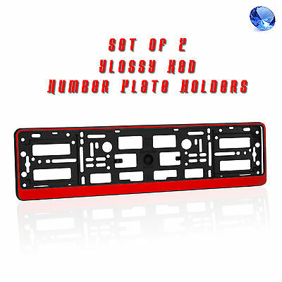 2 x RED EFFECT NUMBER PLATE HOLDERS SURROUNDS FOR ANY CAR ABS GLOSSY FINISH R1