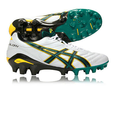 Asics Lethal Glory Hommes Blanc Vert Chaussures De Football Rugby Baskets Sport