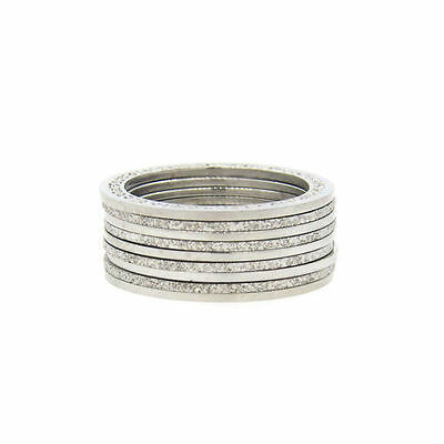 Rebecca Italy Sterling Silver 9 Diamond Cut Stackable Rings Set Size 7.5