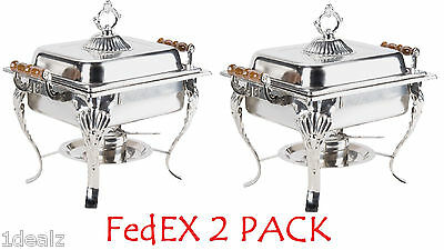 2 PACK DEAL 4QT CLASSIC Rectangular Chafing Dish Chafer Catering Buffet Warmer
