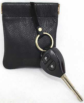 Quality Full Grain Cow Hide Leather Coin Purse with Key Ring. Black. Style 11032
