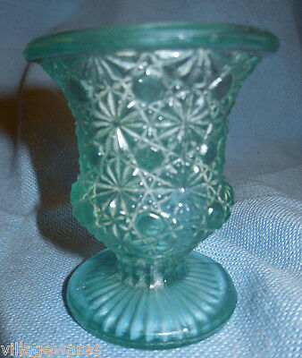 Early 1900s Small Aqua Toothepick Holder in Daisy and Button Pattern Satin Glass