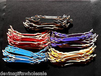 #brt Lot Of 100 Twisted Leather  Bracelet Blanks W/snap Choice Of Color
