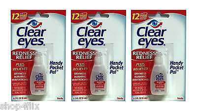 Clear Eyes Redness Relief Pack of 3 0.2 FL OZ (6 ml) Handy Pocket Pack