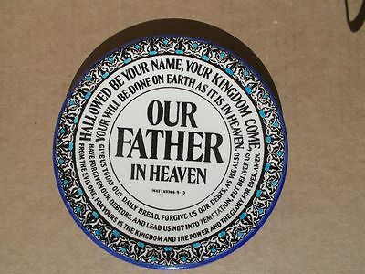 """6 1/2"""" Our Father Lord's Prayer vintage ceramic plate from Jericho Holy Land"""