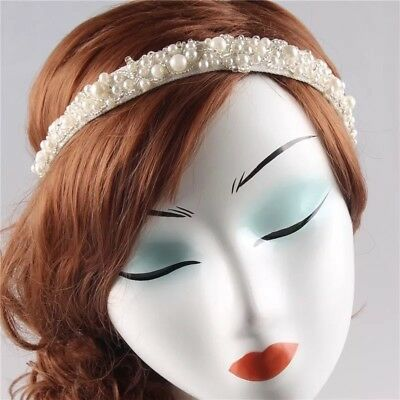 VINTAGE DECO FLAPPER 1920's WHITE PEARL BEADED HEADBAND HAIRPIECE WED BRIDAL