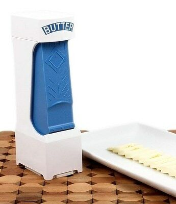 ONE CLICK Large Butter Cutter Butter Dish, Slices Serves Stores Butter Blue