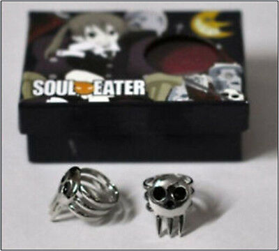 New Soul Eater Death The Kid Cosplay 2 Ring Set Silver