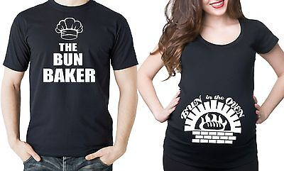 Pregnancy Funny Couple T-shirts  Bun In The Oven Couple Halloween Costume Tees