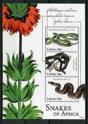 Liberia 2011 MNH Reptiles of Africa 4v M/S II Snakes Python Tree Snake