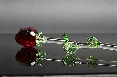 Red Rose- Glass ornament Valentines day mother birthday gift present Hot Flower