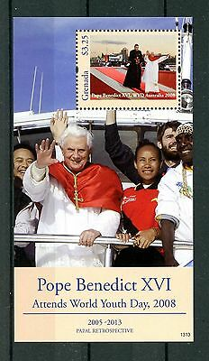 Grenada 2013 MNH Papal Retro Pope Benedict XVI World Youth Day 1v S/S Stamps
