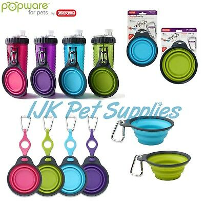 Dexas Popware pets dog Collapsible Travel Cup Bowl water snack Bottle Holder