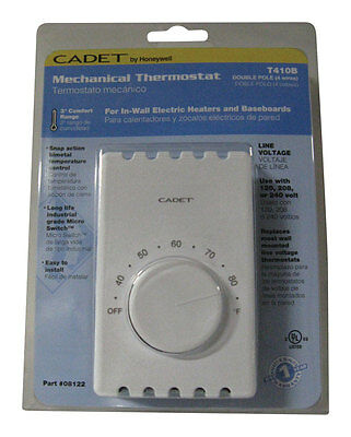 Cadet Double Pole Wall Mount Thermostat 120/208/240 V 22 A 2 Pole White Ul