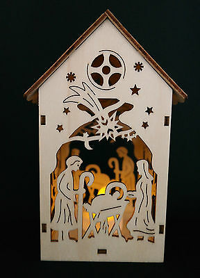 Wooden Birdhouse Christmas Nativity Scene With Electric Candle