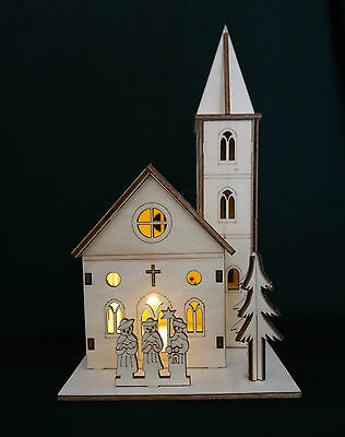 Wooden Christmas Nativity Church With Lights
