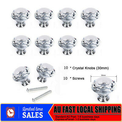 10X 30MM Clear Crystal Glass Door Knob Drawer Cabinet Kitchen Handle + Screw AU